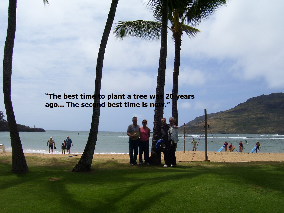 The best time to plant a tree is 20 years ago.The second best time is now.